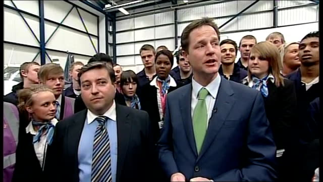 general election 2010: nick clegg visit to newcastle aviation academy; nick clegg speech to trainees sot - pleased to be back in newcastle/ came... - politics and government stock videos & royalty-free footage