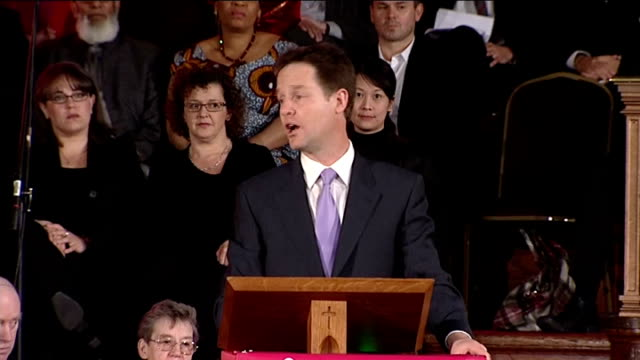 party leaders speak at Citizens UK event in London Man introduces Nick Clegg MP to podium SOT Nick Clegg MP speech SOT Can I just thank you what you...