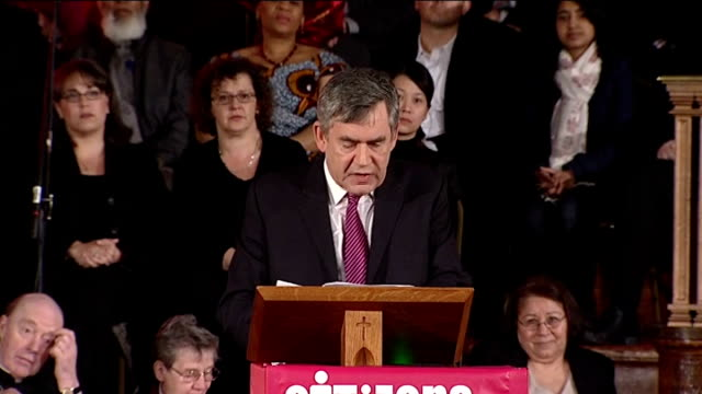 general election 2010: party leaders speak at citizens uk event in london; brown introduced to podium sot gordon brown mp speech sot - there has been... - gordon brown stock-videos und b-roll-filmmaterial