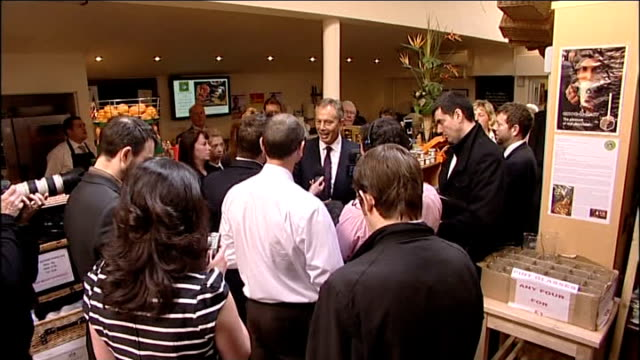 Tony Blair in Yorkshire Blair giving another interview / Blair seen in camera viewfinder Blair posing for photocalls / Blair into car and away