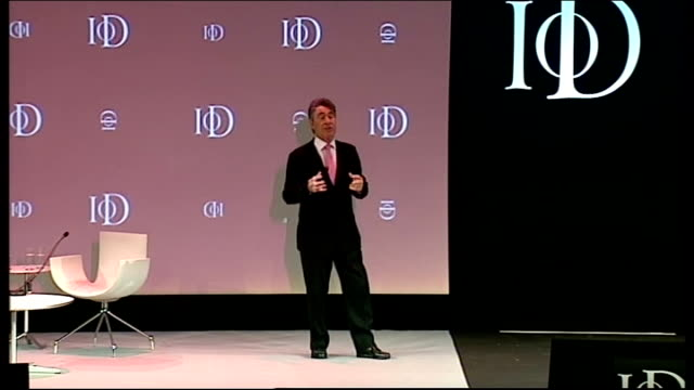 Vince Cable speech at IoD convention ENGLAND London Royal Albert Hall INT Unidentified man introducing Vince Cable SOT **Music heard SOT** Vince...