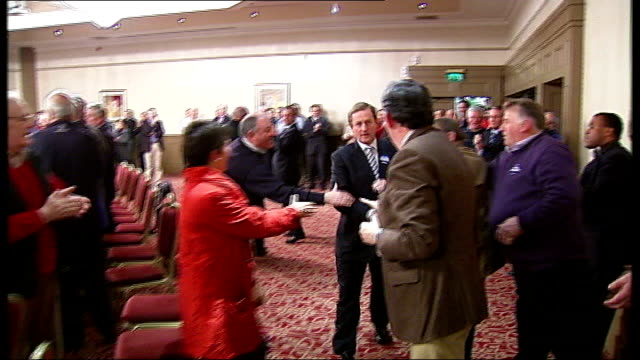 fine gael rally / emigration of young people republic of ireland county cork int enda kenny td chatting to woman at fine gael rally kenny listening... - county cork stock videos & royalty-free footage