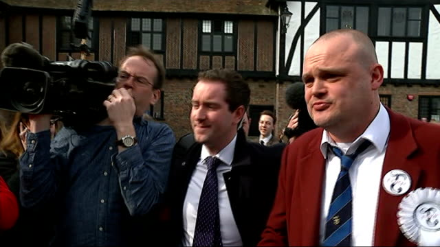 general election 2015: al murray launches campaign in south thanet; ext sign on scaffolding people watching murray murray along with press around - al murray stock videos & royalty-free footage