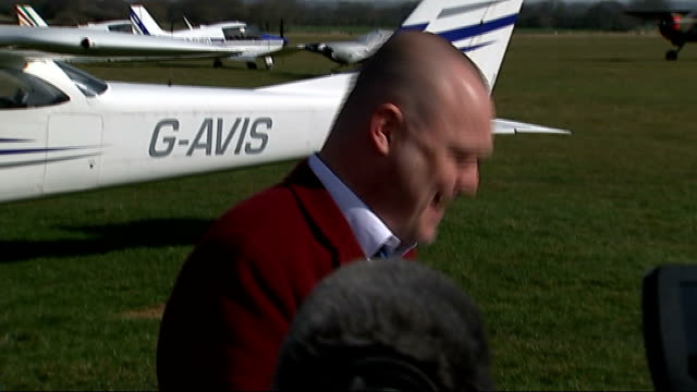 general election 2015: al murray launches campaign in south thanet; england: kent: headcorn: ext media at airfield to cover the launch of the general... - al murray stock videos & royalty-free footage