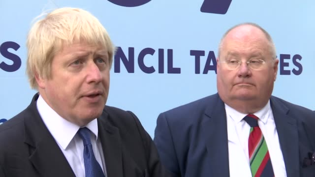 general election 2015: boris johnson and eric pickles at poster launch; boris johnson speaking to press sot - talks of new jobs created in reaction... - trivia stock videos & royalty-free footage