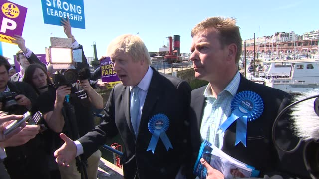 boris johnson campaigns in ramsgate boris johnson talking to press sot support and interest in idea / i'm mayor of one of most successful immigrant... - leech stock videos & royalty-free footage