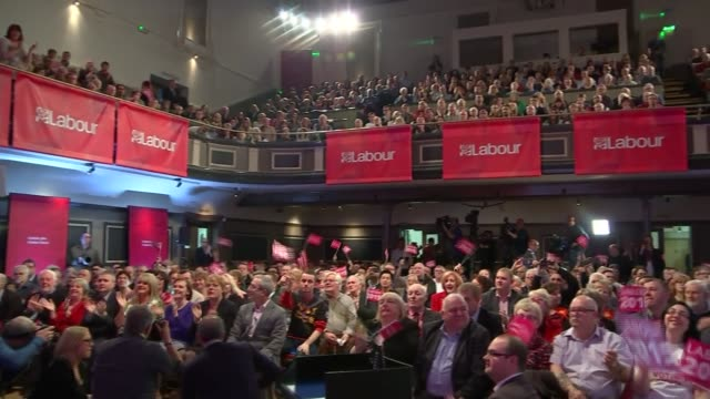 campaigning ed miliband rally cutaways england cheshire warrington int joey essex in audience chatting and taking selfie with fan / joey essex... - ben elton stock videos and b-roll footage