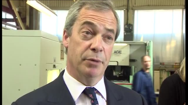 Campaigning UKIP Nigel Farage in Clacton Nigel Farage MEP interview on Labour manifesto voting tactically on migrant worker SOT / Farage along...