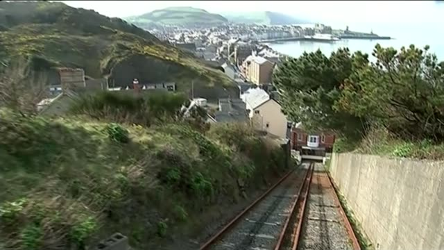 general election 2015: candidates campaign in aberystwyth; wales: aberystwyth: ext aberystwyth skyline seen from funicular cliff railway - aberystwyth stock videos & royalty-free footage