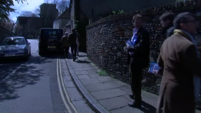 conservative campaigners in sandwich england kent sandwich ext various of conservative party activists campaigning in the south thanet seat being... - kent england stock videos & royalty-free footage