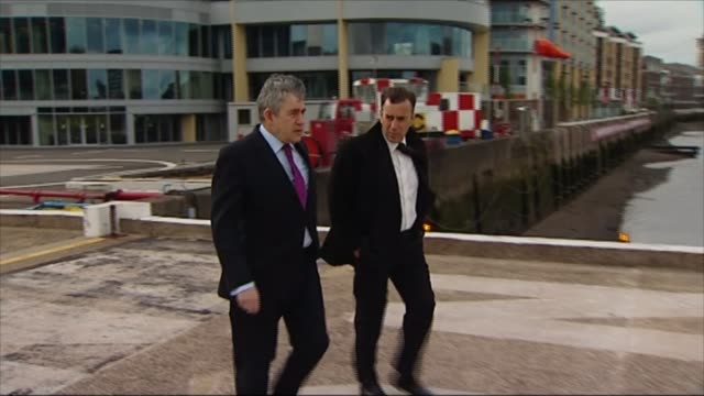conservative party business leaders letter / labour party clamp down on zerohours lib / battersea london heliport ext gordon brown and duncan... - helicopter landing pads stock videos and b-roll footage