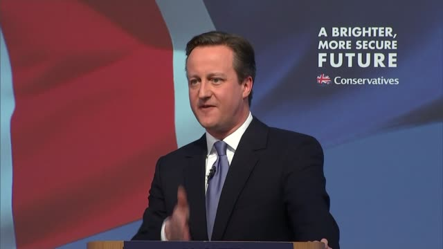 stockvideo's en b-roll-footage met conservative party election manifesto launched david cameron question and answer session sot there's a big difference between labour and the... - manifest