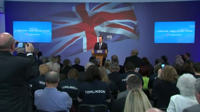 stockvideo's en b-roll-footage met conservative party election manifesto launched england wiltshire swindon photography*** theresa may introducing david cameron sot various shots david... - manifest