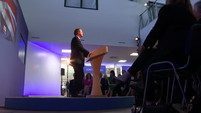stockvideo's en b-roll-footage met conservative party election manifesto launched various shots side view david cameron speech - manifest