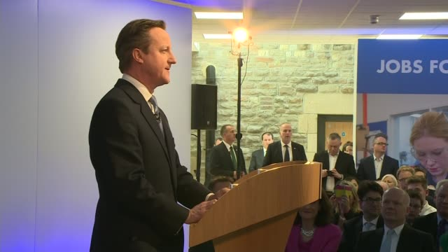 stockvideo's en b-roll-footage met conservative party election manifesto launched side view david cameron speech - manifest