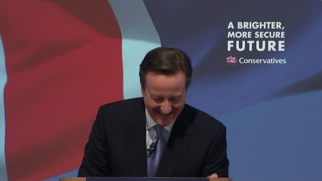stockvideo's en b-roll-footage met conservative party election manifesto launched david cameron speech sot i'll leave that for samatha to tell me privately later [to questio whether he... - manifest