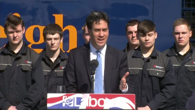 stockvideo's en b-roll-footage met conservative party election manifesto launched leicestershire loughborough ed miliband speech sot first last and always they are the party of the... - manifest