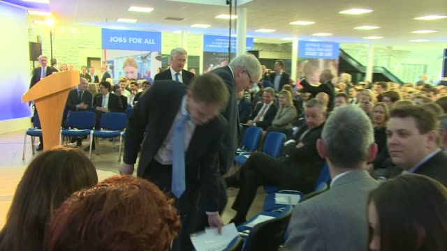 Conservative Party manifesto launch ENGLAND Wiltshire Swindon INT **Music heard SOT** People arriving and sitting in audience including Eric Pickles...