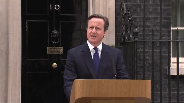 general election 2015: david cameron statement to press after the dissolution of parliament; england: london: downing street ext general view of... - lectern stock videos & royalty-free footage
