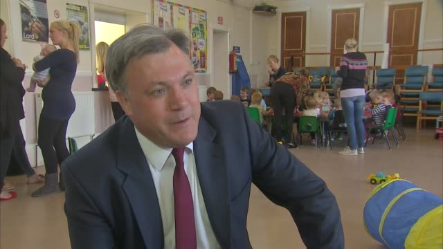 Ed Balls visits nursery in Dewsbury Ed Balls interview SOT On economic growth figures / apprenticeships / Ed Miliband being interviewed by comedian...