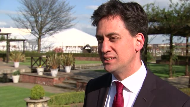 general election 2015: ed miliband interview in ayr; scotland: ayr: ext ed miliband along with others / ed miliband interview sot - on snp manifesto... - ayr stock videos & royalty-free footage