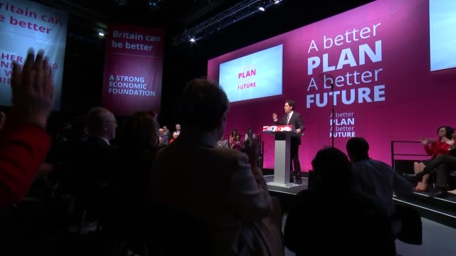 general election 2015: ed miliband manifesto launch: cutaways; england: manchester: int ed miliband speech cutaways sot / gvs miliband along to... - teleprompter stock videos & royalty-free footage