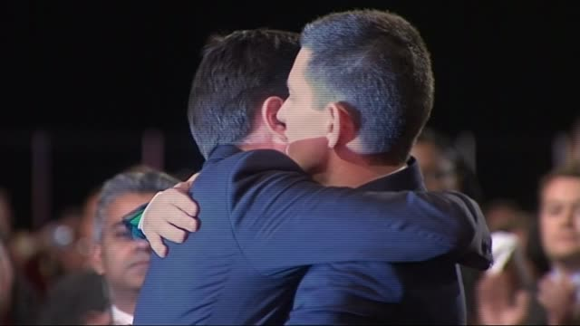 ed miliband profile / 'milifandom' on social media lib / 2592010 manchester photography *** ed miliband and david miliband hugging as delegates... - david miliband stock videos & royalty-free footage