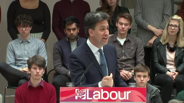Ed Miliband speech in Hastings ENGLAND Sussex Hastings INT Ed Miliband speech SOT With them it's a recovery that never leaves the City of London and...