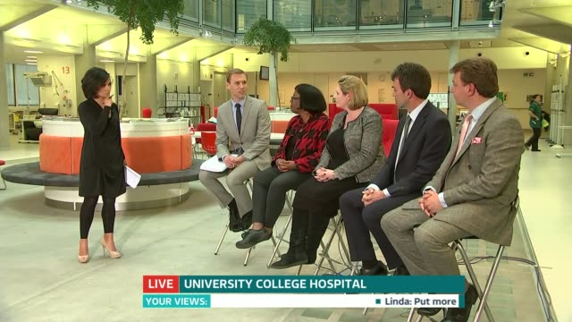 Future of NHS in London ENGLAND London Univesity College Hospital INT LIVE panel discussion DISCO about NHS in London featuring Dan Chapple with...