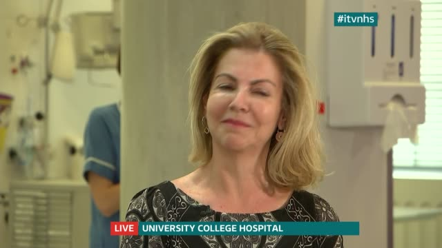 future of nhs in london england london univesity college hospital int live robert gordon clark interview sot/ live panel discussion disco about nhs... - nina hossain video stock e b–roll