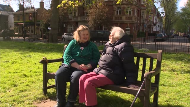 Future of NHS in London EXT Walter Harris seated on park bench with his iwfe Suzanna Walter Harris interview SOT/ Hammersmith Charing Cross Hospital...