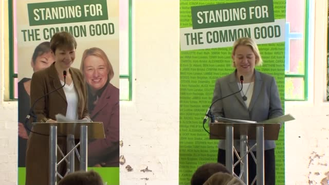 stockvideo's en b-roll-footage met green party election manifesto launched england london int natalie bennett and carolien lucas into room and to podiums natalie bennett speech sot re... - manifest