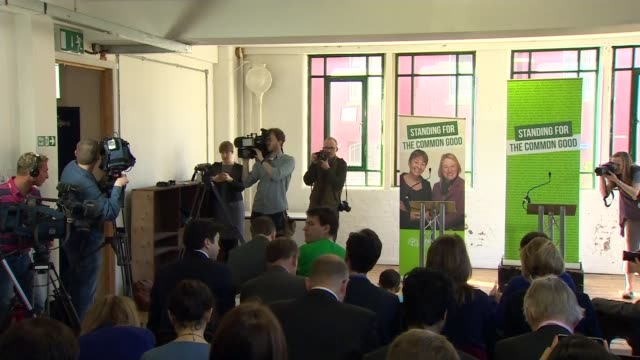 stockvideo's en b-roll-footage met green party election manifesto launched england london arcola theatre photography*** various shots natalie bennett and caroline lucas along into room... - manifest