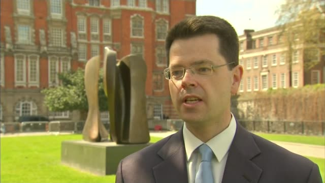 general election 2015: issues - immigration; london: ext james brokenshire interview sot - we've got the modern slavery unit in the home office... - rettungsdienst mitarbeiter stock-videos und b-roll-filmmaterial