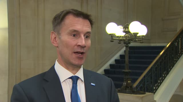 labour and conservatives unveil election health policies england london millbank int jeremy hunt interview sot we can fund the extra money for the... - paying taxes stock videos & royalty-free footage