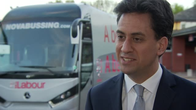 labour ed miliband campaigning in derbyshire interview ed miliband england derbyshire ilkeston ext ed miliband interview sot asking people to vote... - ed miliband stock-videos und b-roll-filmmaterial