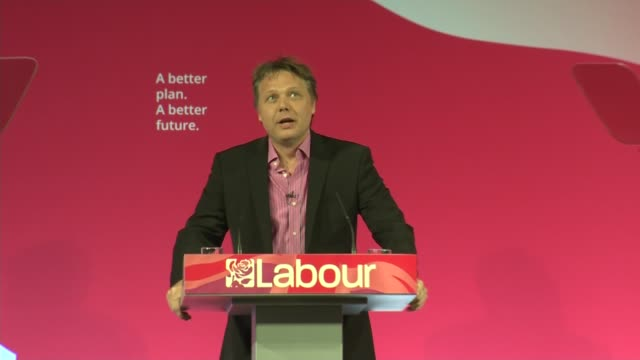 general election 2015: labour: ed miliband speech; england: west yorkshire: leeds: int shaun dooley introduction sot - shaun dooley actor stock videos & royalty-free footage
