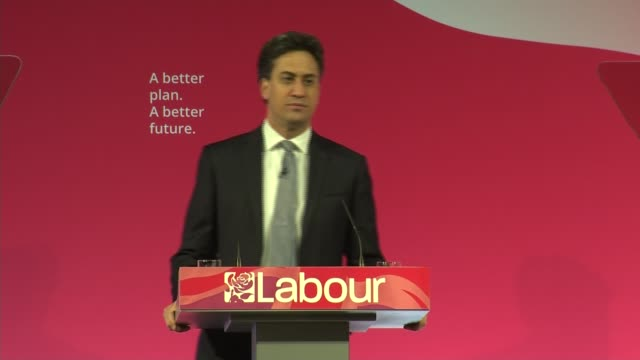 vidéos et rushes de general election 2015: labour: ed miliband speech; miliband speech sot ..chance to get rid of these tories and elect a labour government - fighting... - prime minister