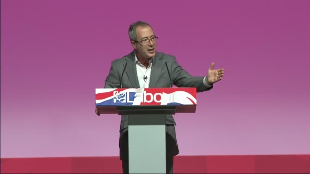 labour party rally in warrington ben elton introduction sot montage video of ed miliband speeches and interviews - ben elton stock videos and b-roll footage