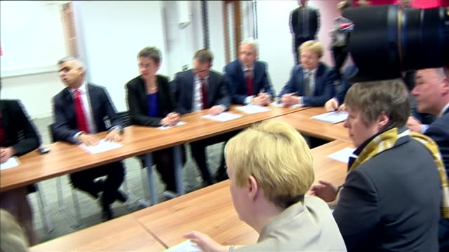 labour shadow cabinet meeting england london labour hq int ed miliband talking to his shadow cabinet members around table to finalise manifesto /... - douglas alexander stock videos & royalty-free footage