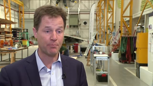 liberal democrats make pledge on public sector pay clegg interview england bristol airbus factory int nick clegg interview sot clegg answer sot not... - light at the end of the tunnel stock videos and b-roll footage