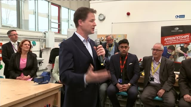 liberal democrats nick cleg visit to maidstone nick clegg speech sot - maidstone stock videos and b-roll footage