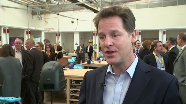 liberal democrats nick cleg visit to maidstone england kent maidstone int nick clegg interview on labour manifesto gerard lib dem energy proposals sot - maidstone stock videos and b-roll footage