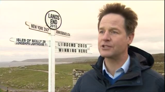 liberal democrats nick clegg at lands end cornwall england cornwall lands end ext nick clegg interview on tories offering hard line cuts winning his... - lands end cornwall stock videos and b-roll footage