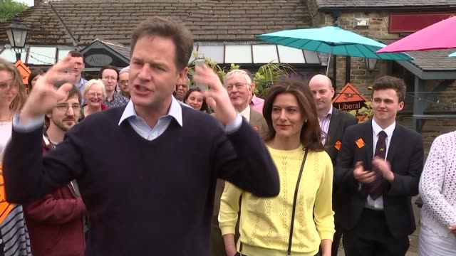 nick clegg addresses supporters england south yorkshire sheffield dore ext nick clegg mp and wife miriam gonzalez durantez chatting with party... - ニック クレッグ点の映像素材/bロール