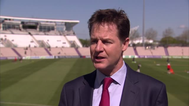 nick clegg interview england hampshire southampton ext nick clegg interview sot on lib dems campainging / small business support for conservatives /... - ニック クレッグ点の映像素材/bロール
