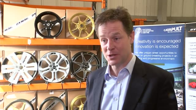 general election 2015: nick clegg visits dymag in chippenham; nick clegg interview sot - on ultra low emissions vehicles / labour's pledge to ban... - チッペナム点の映像素材/bロール
