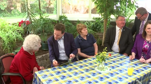 nick clegg visits powys care home glanenig house care home int varios of nick clegg chatting with elderly residents during visit to care home kirsty... - powys stock videos & royalty-free footage