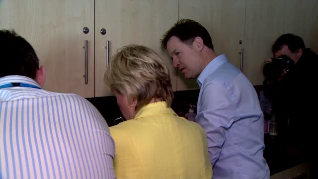 general election 2015: nick clegg visits student nurses at solihull college; clegg chatting to staff and rubbing liquid in hands as talking about... - staphylococcus aureus stock videos & royalty-free footage