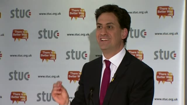 general election 2015: nicola sturgeon launches snp manifesto; ayr: ext ed miliband out of car and greeted int ed miliband speech sot - the battle to... - ayr stock videos & royalty-free footage